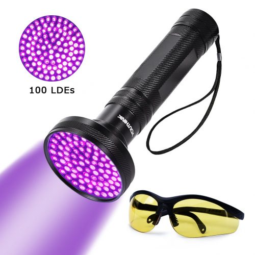 UV Blacklight Flashlight Super Bright 100 LED 18W 395nm Portable Blacklight Ultraviolet Detector
